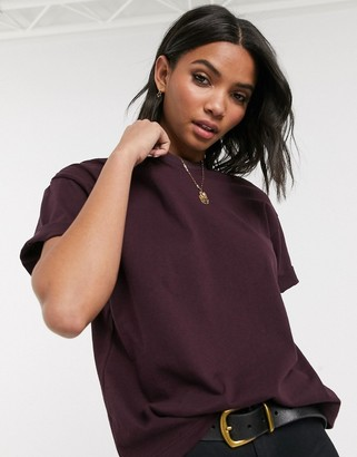 Topshop t-shirt with roll sleeves in burgundy