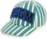 MSGM striped logo patch cap - men - Cotton - One Size