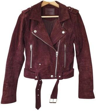 Blank NYC Burgundy Suede Leather Jacket for Women