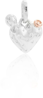 Tane Exquisitely Detailed Nopal Heart Charm Handmade In Sterling Silver & Vermeil