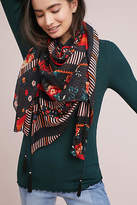 Anthropologie Floral Tasseled Scarf