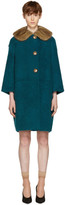 Prada Green Shearling Fur Collar Coat