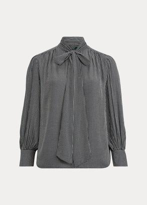 Ralph Lauren Check-Print Tie-Neck Top