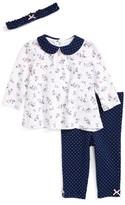 Little Me Infant Girl's Floral Spray Tunic, Leggings & Headband Set