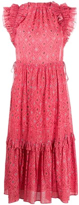 Ulla Johnson Ruched Spotted Print Dress