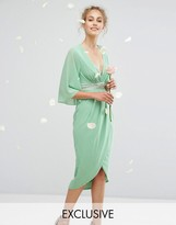 TFNC WEDDING Kimono Sleeve Midi Dress with Wrap Skirt