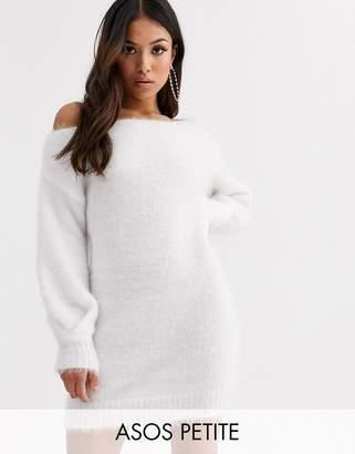 Asos DESIGN Petite fluffy off shoulder mini dress-Cream