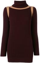 Victoria Beckham contrast panel ribbed jumper
