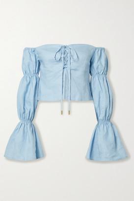 Cult Gaia Claire Off-the-shoulder Linen Top - Light blue