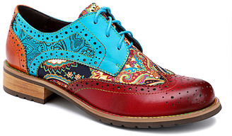 Iliyah Women's Oxfords purple - Red Floral Leather Oxford - Women