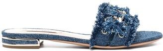 Casadei Denim Mule Sandals