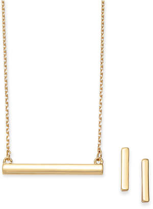 Alfani 2-Pc. Set Polished Bar Pendant Necklace & Matching Stud Earrings