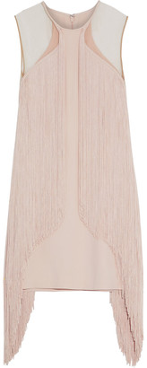 Stella McCartney Tulle-paneled Fringed Cady Mini Dress
