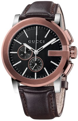 Gucci G-Chrono Stainless Steel Leather Strap Watch