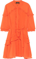 Saloni Tilly Ruffled Georgette Mini Dress - Bright orange
