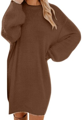 MOIKA Womens Jumper Dress Oversized Casual Crew Neck Loose Long Sleeve Knited Tunic Fluffy Sweatshirt Pullover Tops Mini Sweater Dress Gray