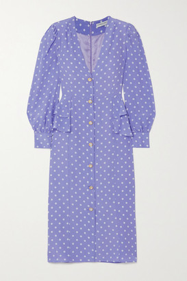 Alessandra Rich Embellished Ruffled Polka-dot Silk Crepe De Chine Midi Dress - Lilac