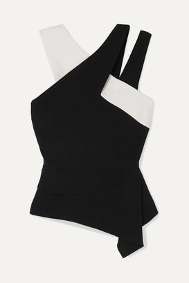 Roland Mouret Asymmetric Two-tone Crepe Top - Black