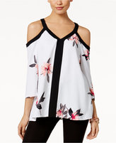 Alfani Floral-Print Cold-Shoulder Top, Only at Macy's