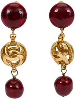 One Kings Lane Vintage Chanel Red Gripoix Drop Earrings - Vintage Lux - red/gold