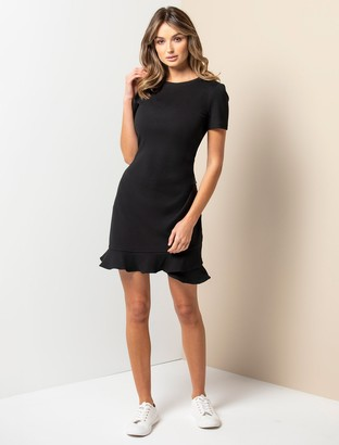 Forever New Annie Rib Short-Sleeve Frill Dress - Black - 12