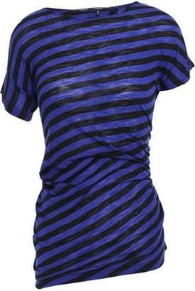 Proenza Schouler Ruched Striped Slub Cotton-jersey T-shirt