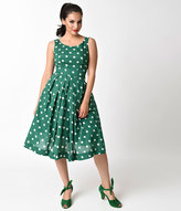 Emily And Fin 1950s Style Jungle Green & Ivory Dotted Isobel Cotton Swing Dress
