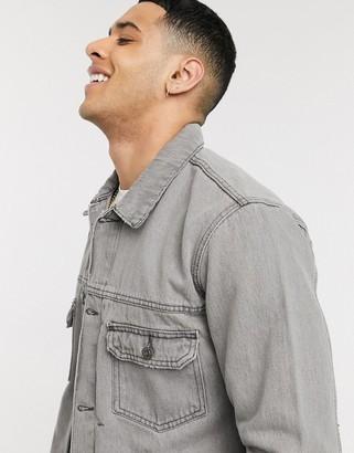 Topman organic denim jacket in grey