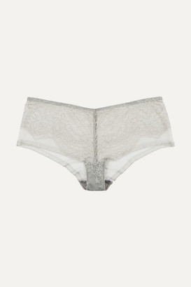 Eres Montsouris Vincennes Chantilly Lace And Tulle Briefs - Light gray