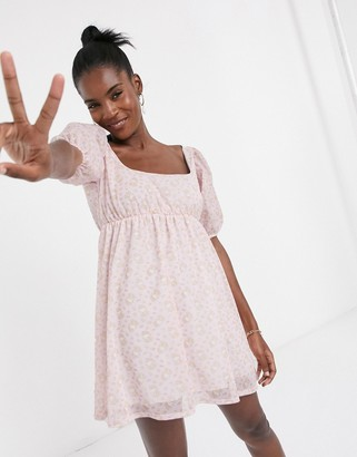 New Girl Order x Hello Kitty mini smock dress with puff sleeves in all over print