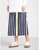 Sportmax Striped wide-leg cropped cotton trousers