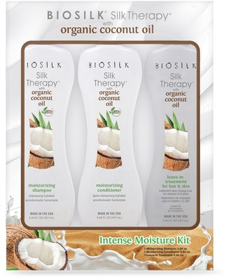 BioSilk Silk Therapy 3-Piece Intense Moisture Kit with Organic Coconut Oil