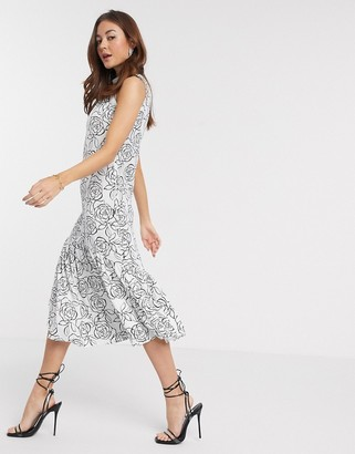Closet London trapeze midi dress in mono abstract floral