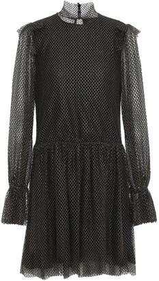 Philosophy di Lorenzo Serafini Ruffled Metallic Mesh Mini Dress
