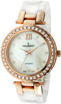 Peugeot Womens White Ceramic T-Bar Bracelet Watch