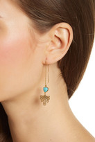 Argentovivo 18K Gold Plated Sterling Silver Turquoise & Fan Drop Threader
