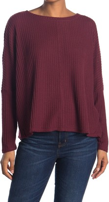 H By Bordeaux Long Dolman Sleeve Waffle Knit Pullover