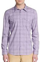 Calvin Klein Regular-Fit Tonal Plaid Cotton Sportshirt