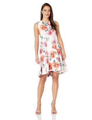 Calvin Klein Women's Petite Sleeveless Dress with Round Neckline and Hi Low Hem