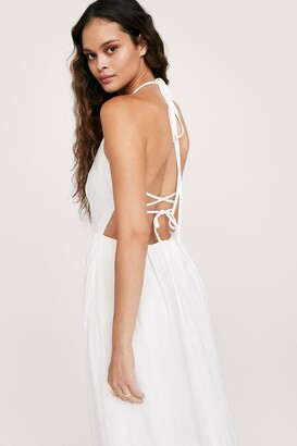 Nasty Gal Womens Strappy Backless Maxi Smock Dress - White - 12