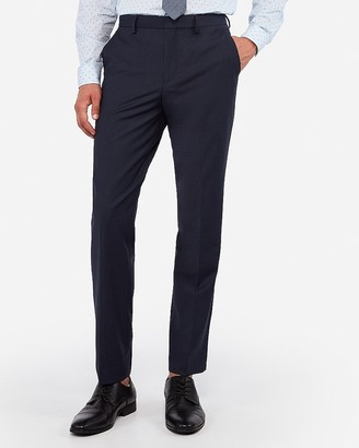Express Classic Navy Wrinkle-Resistant Wool-Blend Performance Stretch+ Suit Pant