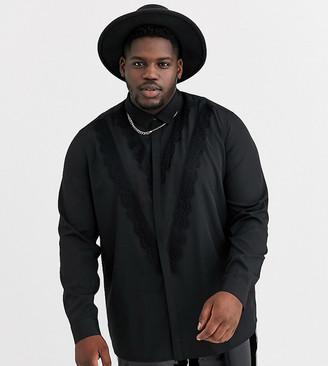 ASOS DESIGN Plus regular fit shirt with chevron lace detail