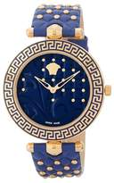 Versace Women's Vanitas Blue Studded Leather Strap Watch