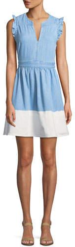 Kate Spade Dip-Dyed Denim Ruffle-Trim Dress
