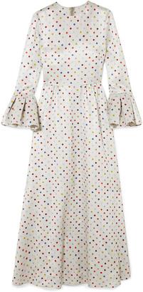 Valentino Polka-dot Lame Maxi Dress
