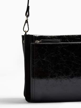 Topshop Detour Leather Cross-Body Bag - Black