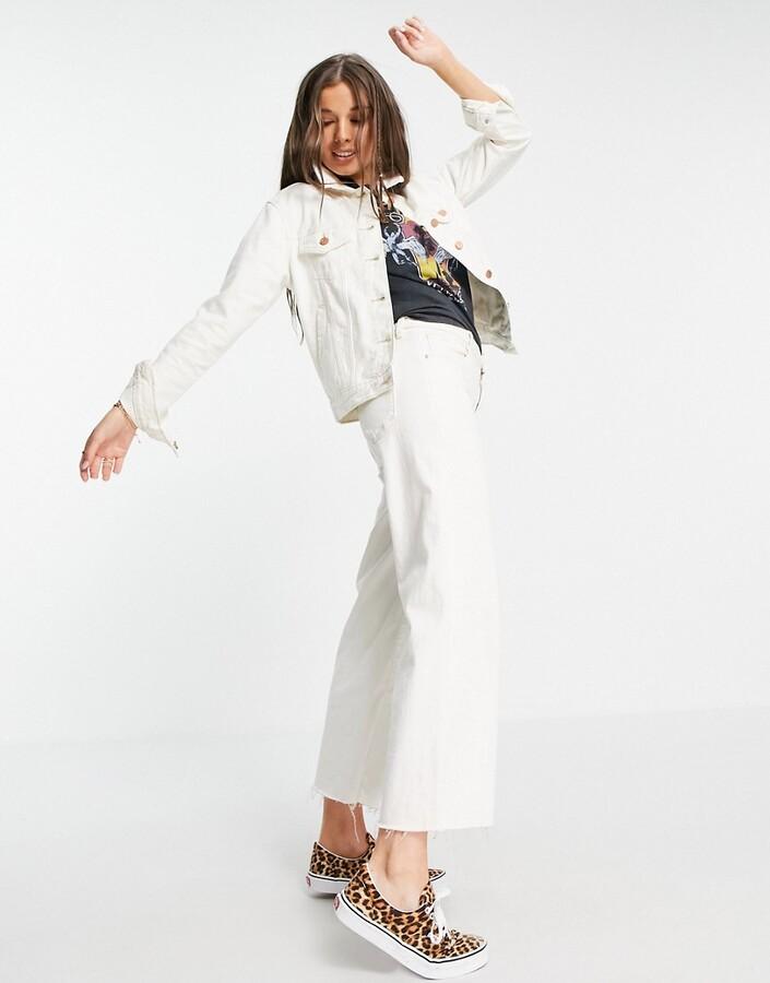 Thumbnail for your product : Brave Soul Bloom denim jacket in ecru