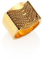 Michael Kors Modern Fringe Goldtone Stainless Steel Barrel Ring