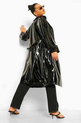 boohoo Vinyl Trench Coat