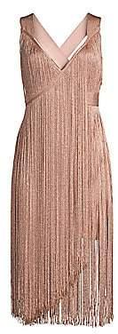 Herve Leger Women's V-Neck Fringe Midi Dress